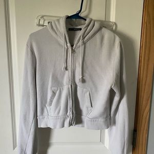 brandy melville cropped white hoodie